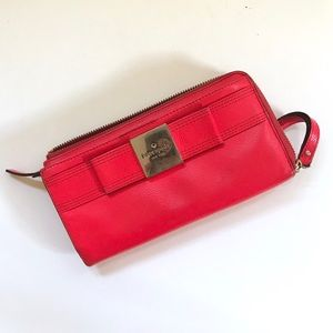 Kate Spade Wallet Red Pebbled Leather wristlet